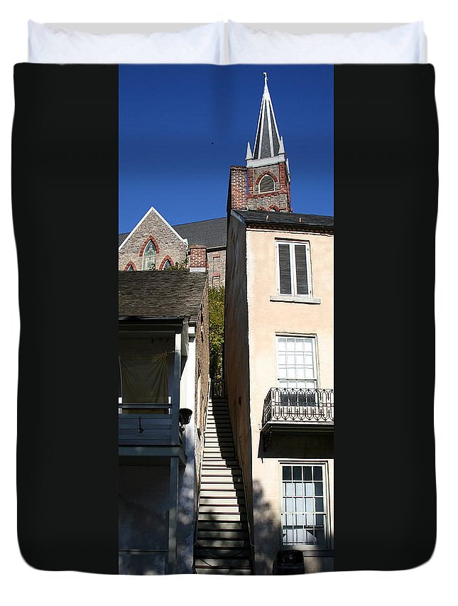 Historic Duvet Cover featuring the photograph Stairs To Where by Rebecca Smith