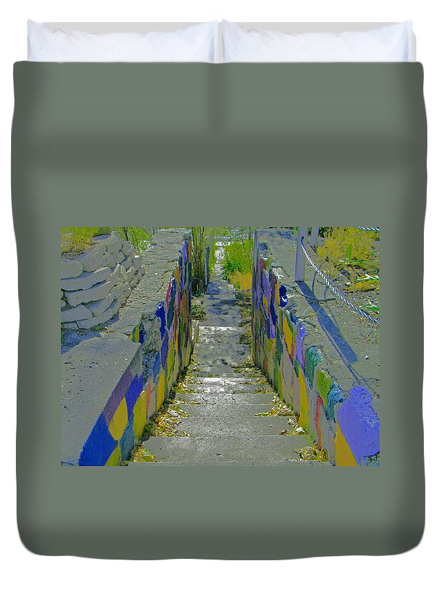 Abstract Duvet Cover featuring the photograph Stairs With Painted Rocks by Lenore Senior