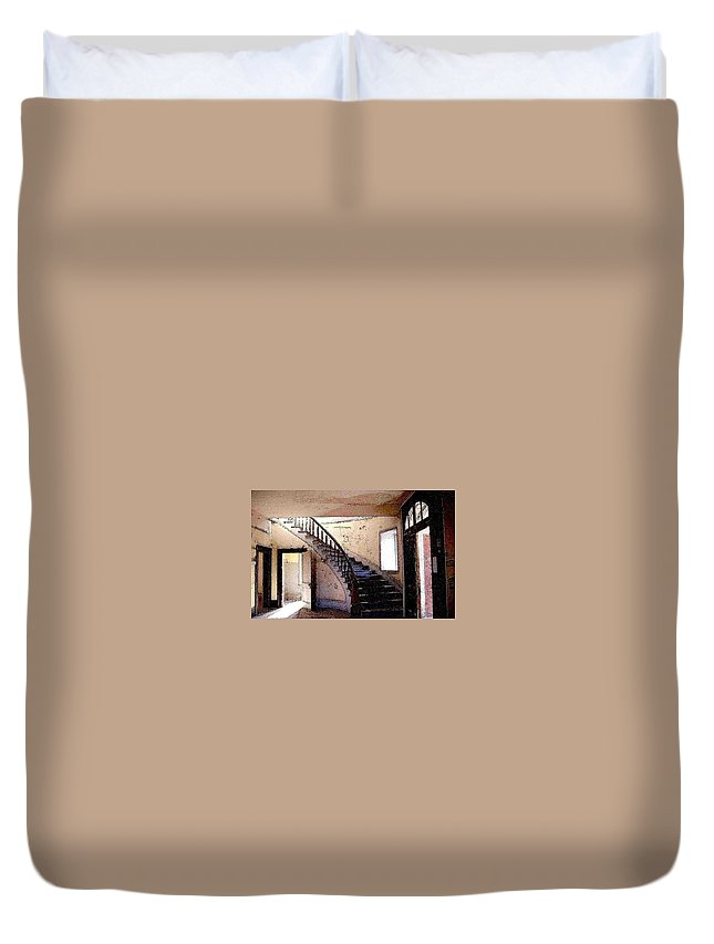Meade Hotel Duvet Cover featuring the photograph Stairway - Meade Hotel - Bannack Mt by Nelson Strong