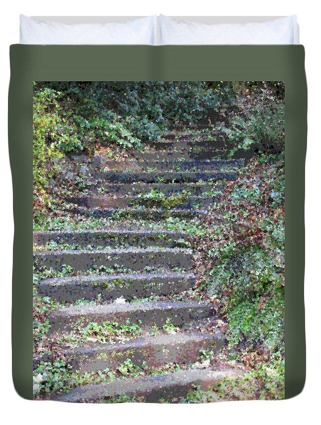 Stair Duvet Cover featuring the digital art Stairway by Tim Allen