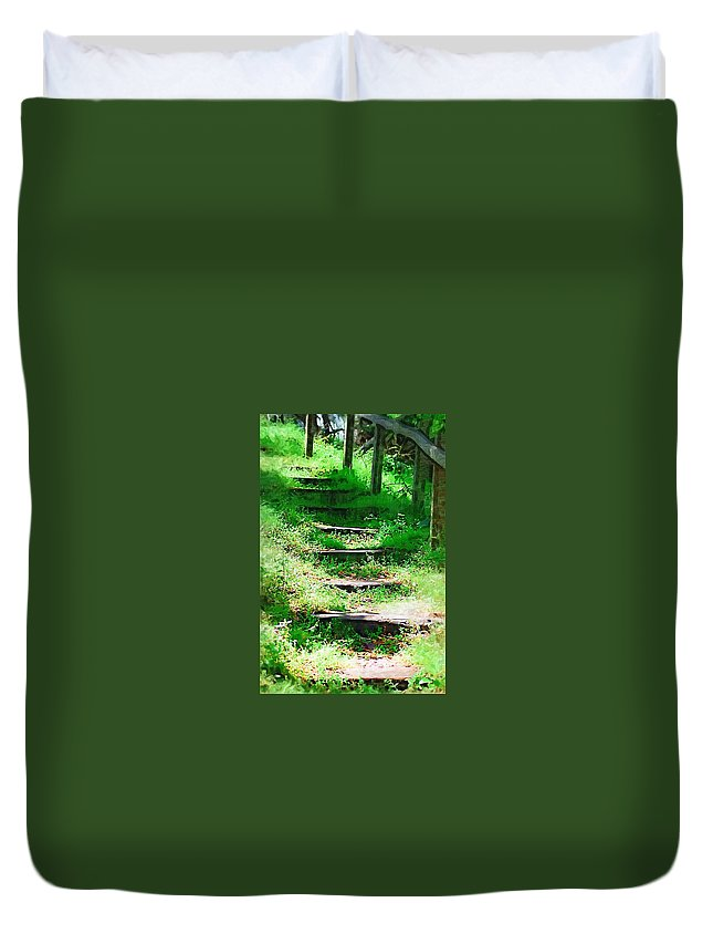 Stairs Duvet Cover featuring the photograph Stairway To Heaven by Donna Bentley