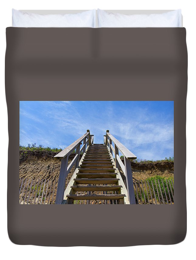 Beach Duvet Cover featuring the photograph Stairway To Heaven by Justin Starr