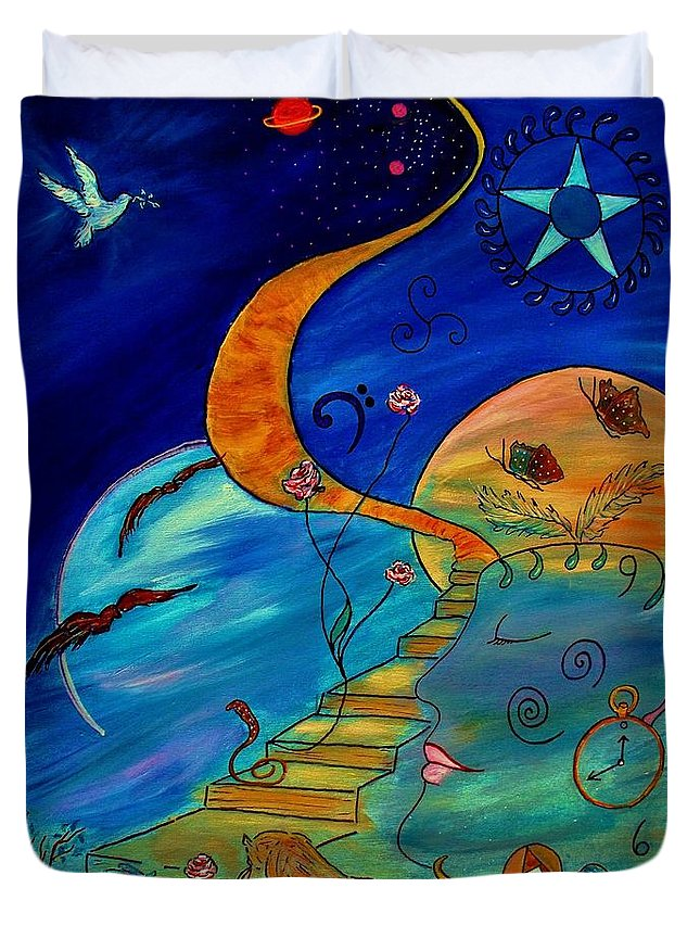Symbolic Duvet Cover featuring the painting Stairway To Nirvana by Robin Monroe