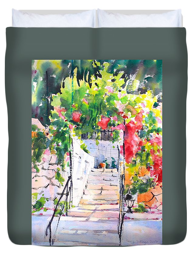 Stairway Duvet Cover featuring the painting Stairway To Paradise by Ibolya Taligas