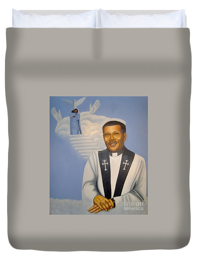 Portrait Of Bishop Bankhead Duvet Cover featuring the painting Stairways To Heaven by Booker Lambouths