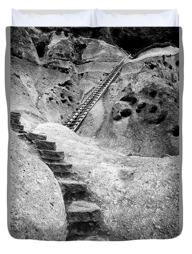 B&w Duvet Cover featuring the photograph Stairways To The Kiva by Sandra Bronstein