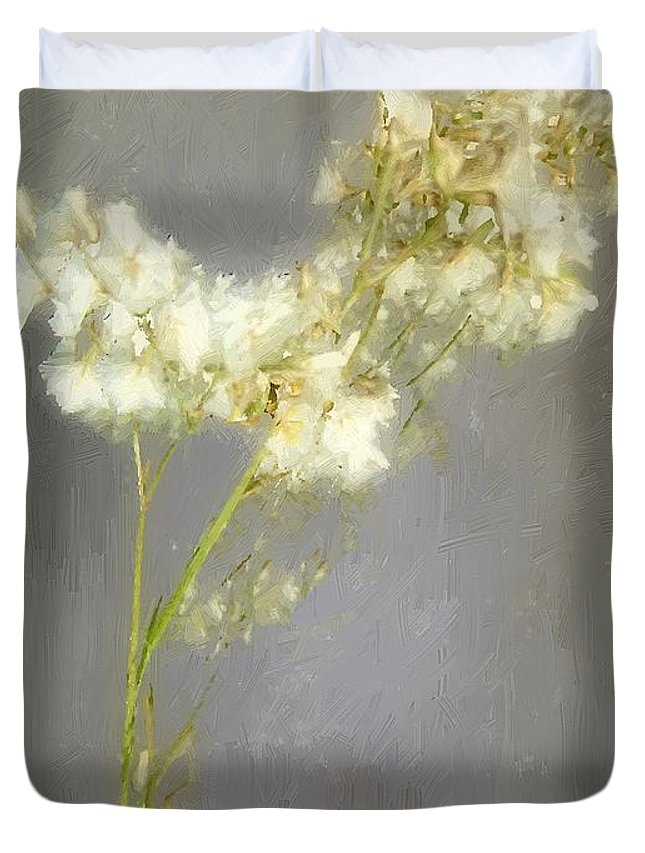 Flowers Duvet Cover featuring the painting Stalk Of Pearls by RC DeWinter