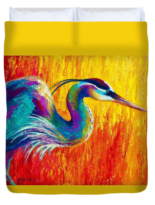 Heron Duvet Cover featuring the painting Stalking The Marsh - Great Blue Heron by Marion Rose