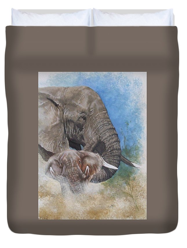 Elephant Duvet Cover featuring the mixed media Stalwart by Barbara Keith
