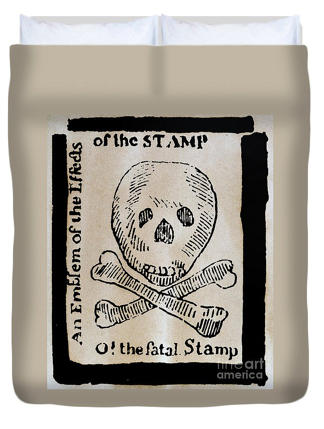 1765 Duvet Cover featuring the photograph Stamp Act: Cartoon, 1765 by Granger