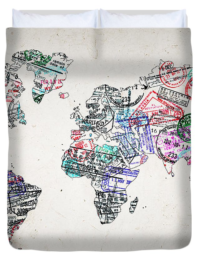 Stamp Art World Map Duvet Cover for Sale by Delphimages Photo Creations