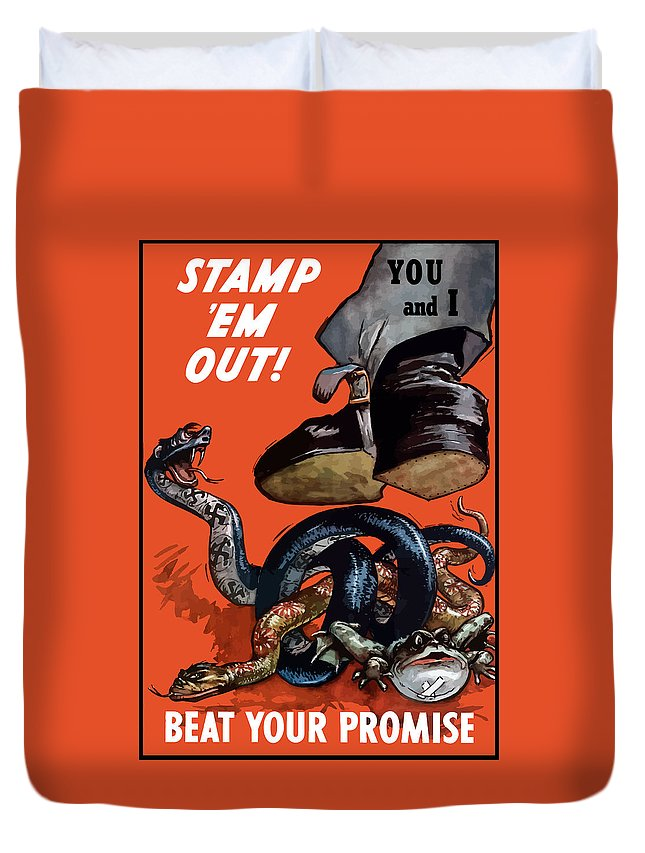 World War Ii Duvet Cover featuring the painting Stamp Em Out - Beat Your Promise by War Is Hell Store