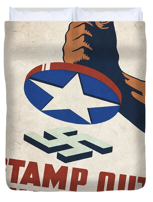 Vintage Poster Duvet Cover featuring the mixed media Stamp Out The Axis - Vintagelized by Vintage Advertising Posters