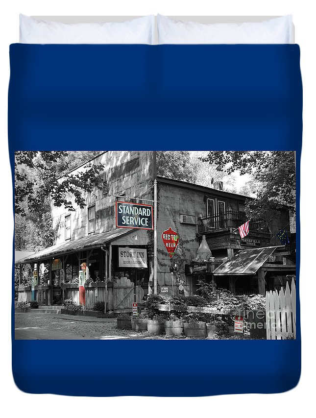 Standard Duvet Cover featuring the photograph Standard Gas Station by Jost Houk