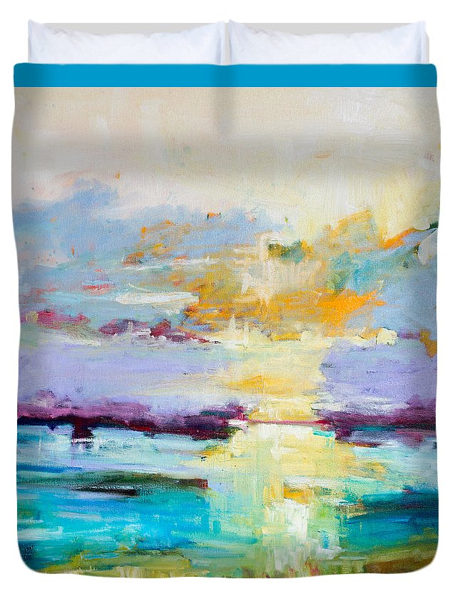 Abstract Duvet Cover featuring the painting Standing Ovation by Susan Scoggins