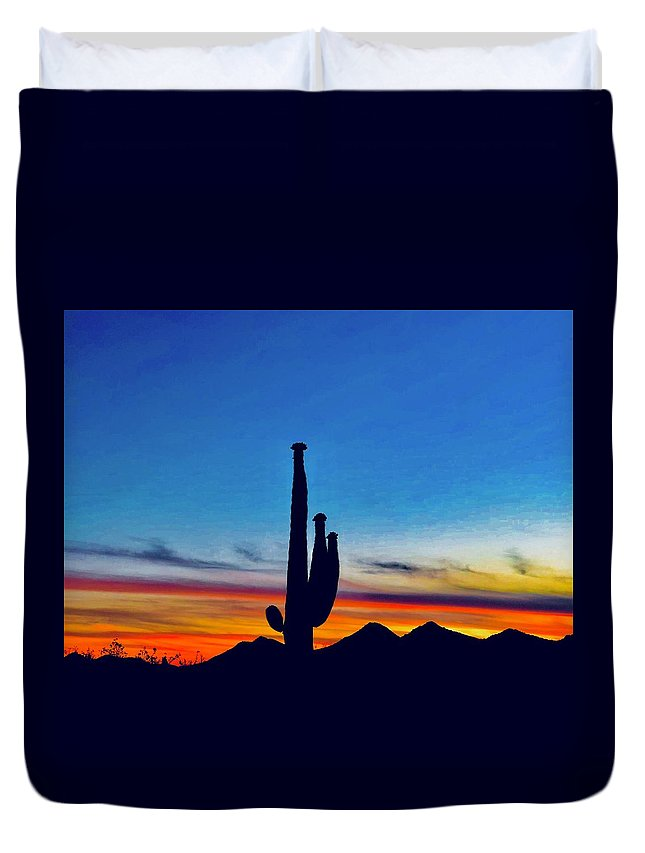 Duvet Cover featuring the photograph The Saguaro King by Joy Elizabeth