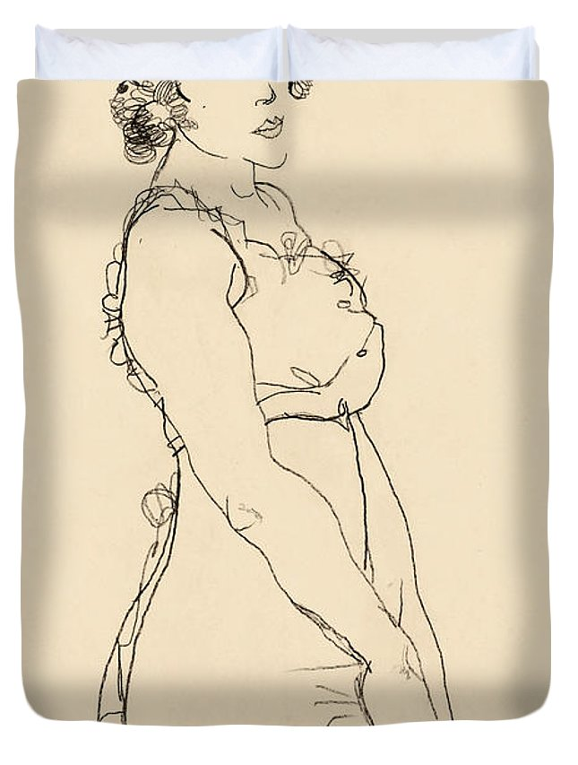 Egon Schiele Duvet Cover featuring the drawing Standing Woman by Egon Schiele