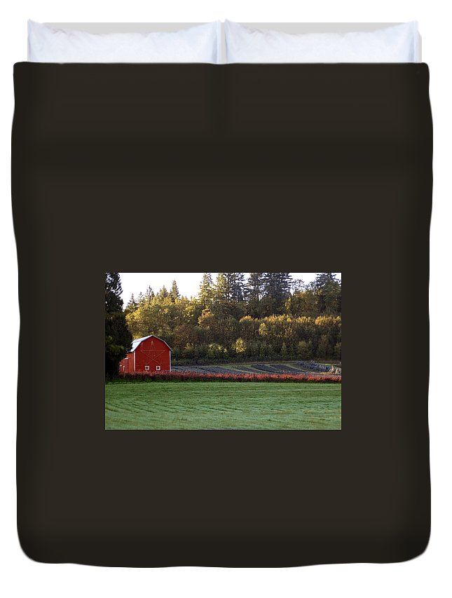 Star Duvet Cover featuring the photograph Star Barn by Sara Stevenson