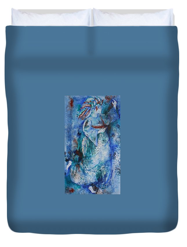 Abstract Duvet Cover featuring the painting Star Dancer by Jean Blackmer