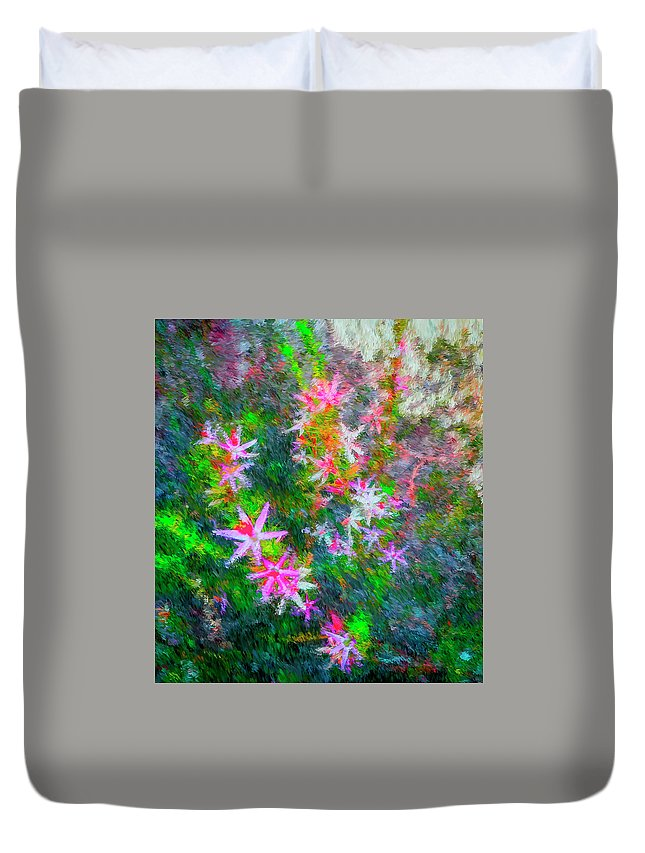 Digital Art Duvet Cover featuring the digital art Star Flowers Shine by Philip Lodwick Wilkinson