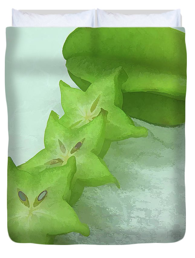 Star Apple Fruit On The Tree Duvet Cover featuring the painting Star Fruit Is Content Of Vitamin A And C by Jeelan Clark