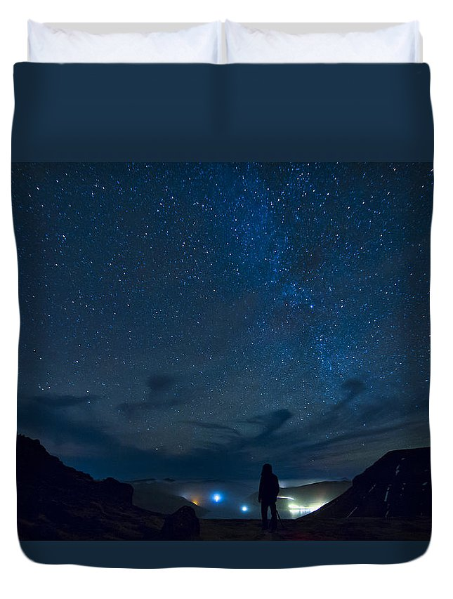 Night Duvet Cover featuring the photograph Star Gazing by Bjartur Vest