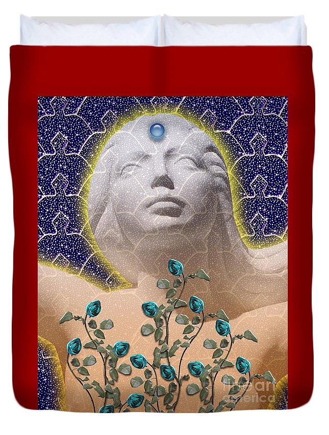 Girl Duvet Cover featuring the digital art Star Goddess by Keith Dillon