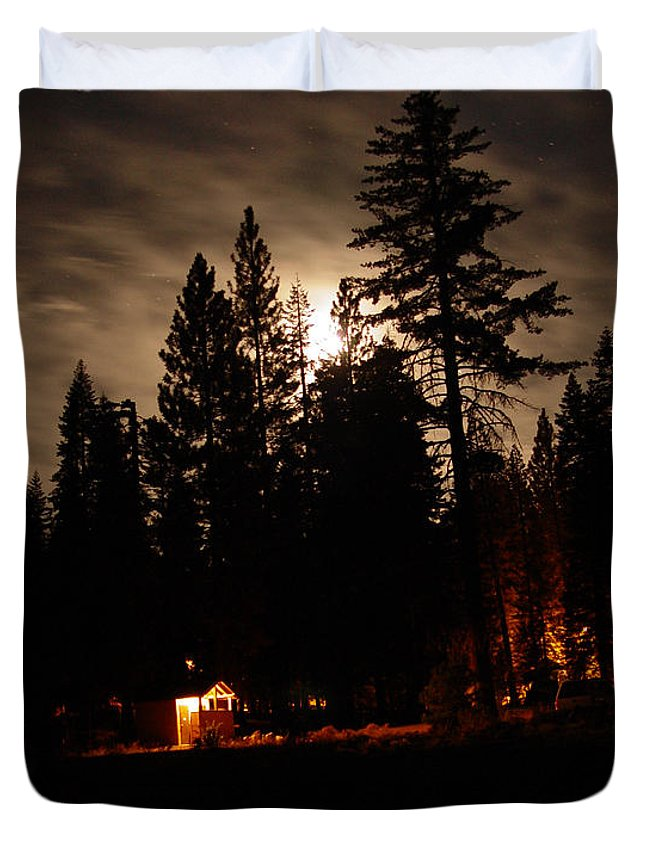 Moonlight Duvet Cover featuring the photograph Star Lit Camp by Peter Piatt
