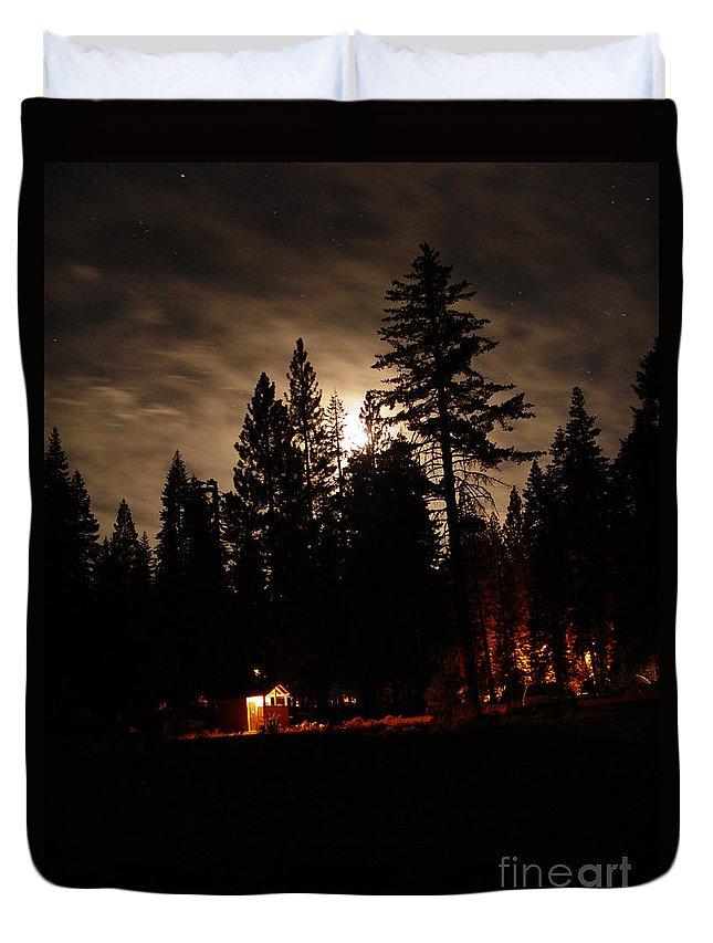 Moonlight Duvet Cover featuring the photograph Star Lit Camp by Peter Piatt