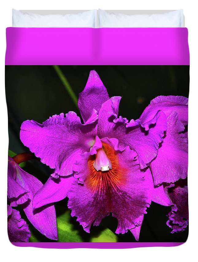 Purple Duvet Cover featuring the photograph Star Of Bethlehem Orchid 006 by George Bostian