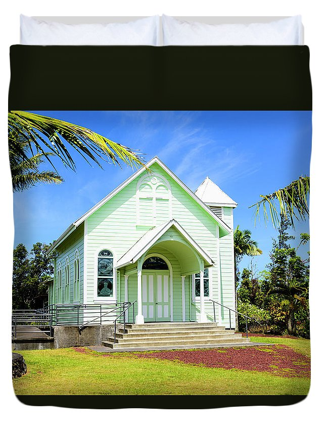 Church Duvet Cover featuring the photograph Star Of The Sea Painted Church by Jim Thompson