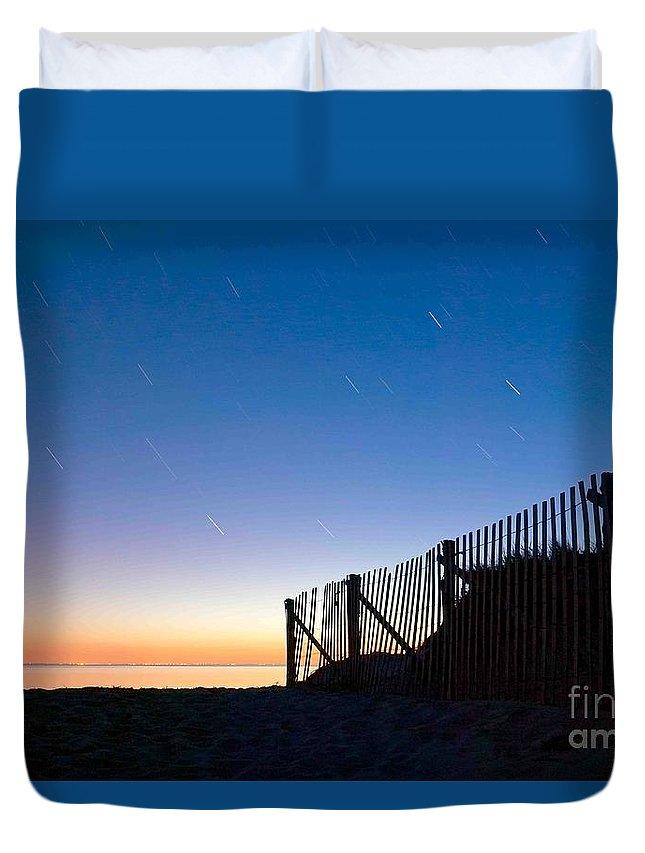 Wellfleet Duvet Cover featuring the photograph Star Trails In Wellfleet Cape Cod by Matt Suess