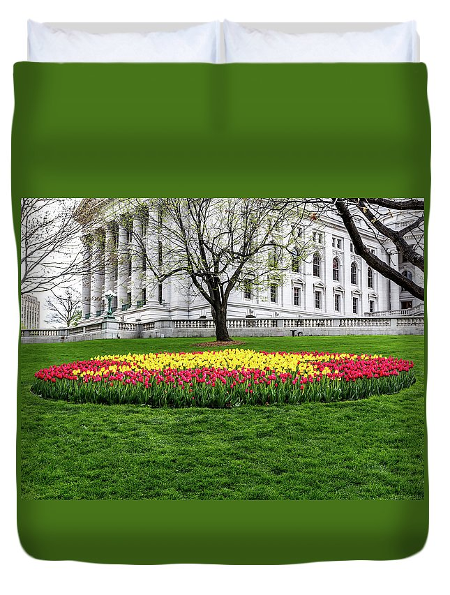 Tulips Duvet Cover featuring the photograph Star Tulips by Rockland Filmworks
