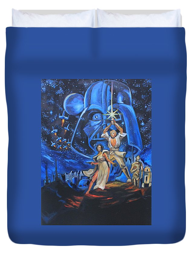 Star Wars Duvet Cover featuring the painting Star Wars by Emily Hart