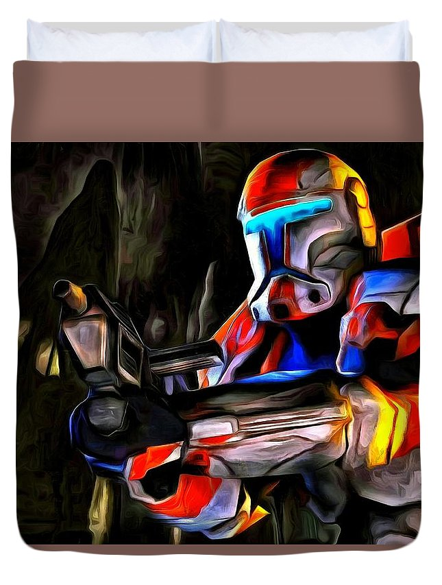 Star Wars 7 Duvet Cover featuring the painting Star Wars Hunter by Leonardo Digenio