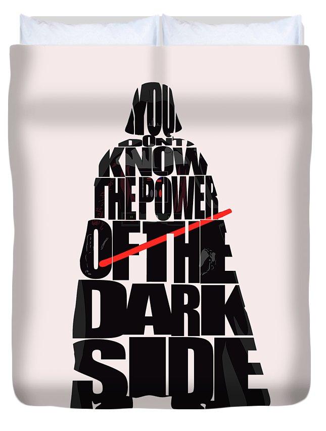 Darth Vader Duvet Cover featuring the digital art Star Wars Inspired Darth Vader Artwork by Inspirowl Design