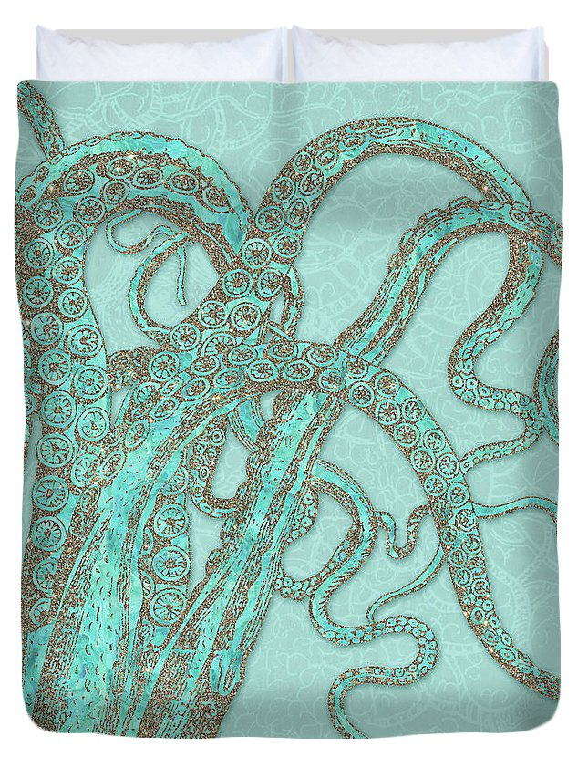 Stardust Duvet Cover featuring the painting Stardust Tentacles, Aqua Watercolor Octopus Coated With Stardust by Tina Lavoie