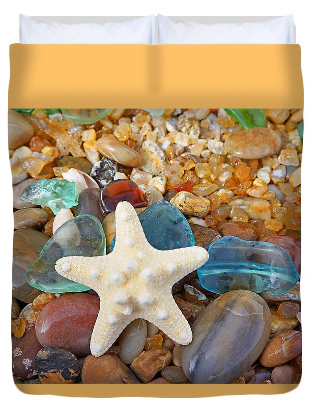 Starfish Duvet Cover featuring the photograph Starfish Art Prints Star Fish Seaglass Sea Glass by Baslee Troutman Art Prints