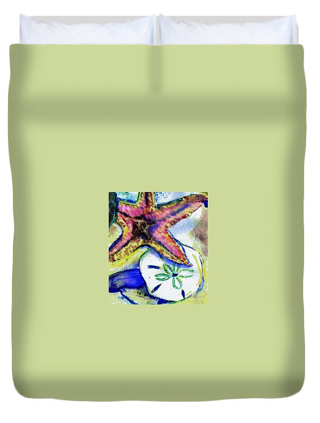 Starfish Duvet Cover featuring the mixed media Starfish by Carliss Prosser