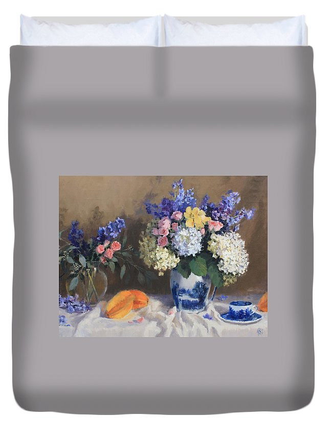 Floral Duvet Cover featuring the painting Starfruit by Hope Reis