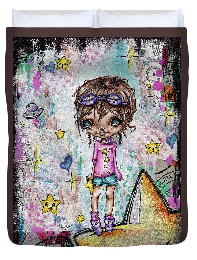 Kawaii Duvet Cover featuring the painting Starla Jones The 3rd Intergalactic Star Jumper by Oddball Art Co by Lizzy Love