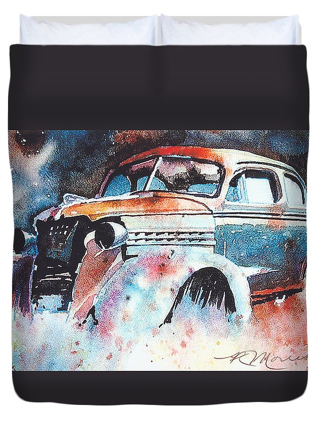 Chev Duvet Cover featuring the painting StarlightChevy by Ron Morrison