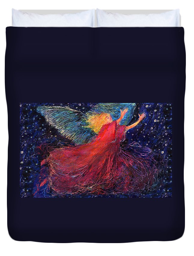 Angel Duvet Cover featuring the painting Starry Angel by Diana Ludwig