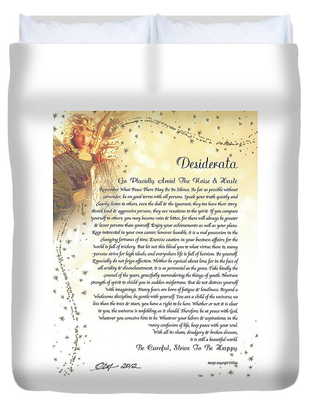 Desiderata Poem Max Ehrmann Starry Guardian Angel Motivational Inspirational Duvet Cover featuring the mixed media Starry Guardian Angel Desiderata by Desiderata Gallery