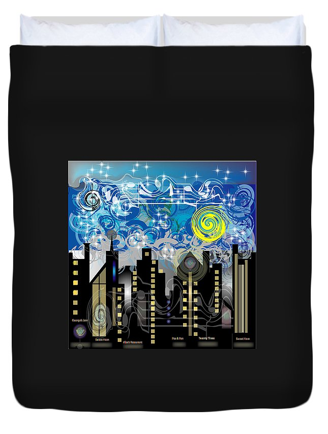 Jazz Duvet Cover featuring the digital art Starry Night by George Pasini