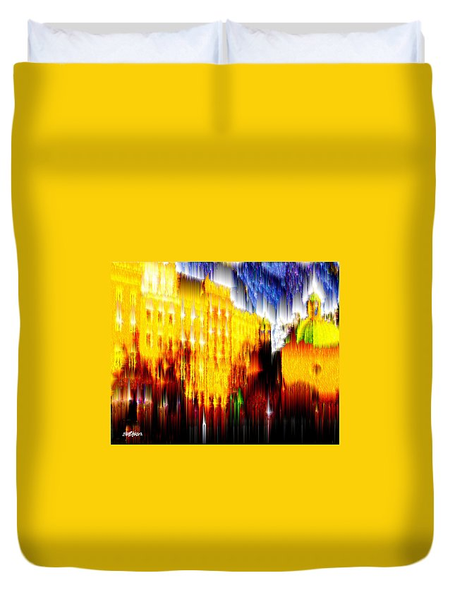 Old World Duvet Cover featuring the digital art Starry Night In Prague by Seth Weaver
