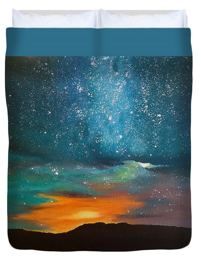 Stars Duvet Cover featuring the painting Starry Night by Marina Hanson