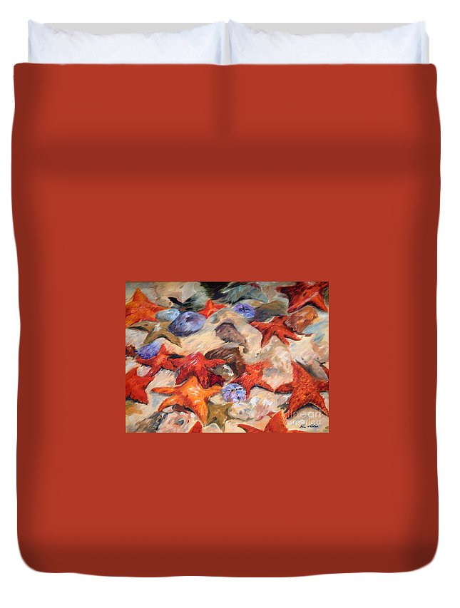 Painting Duvet Cover featuring the painting Starry Sea by Enzie Shahmiri