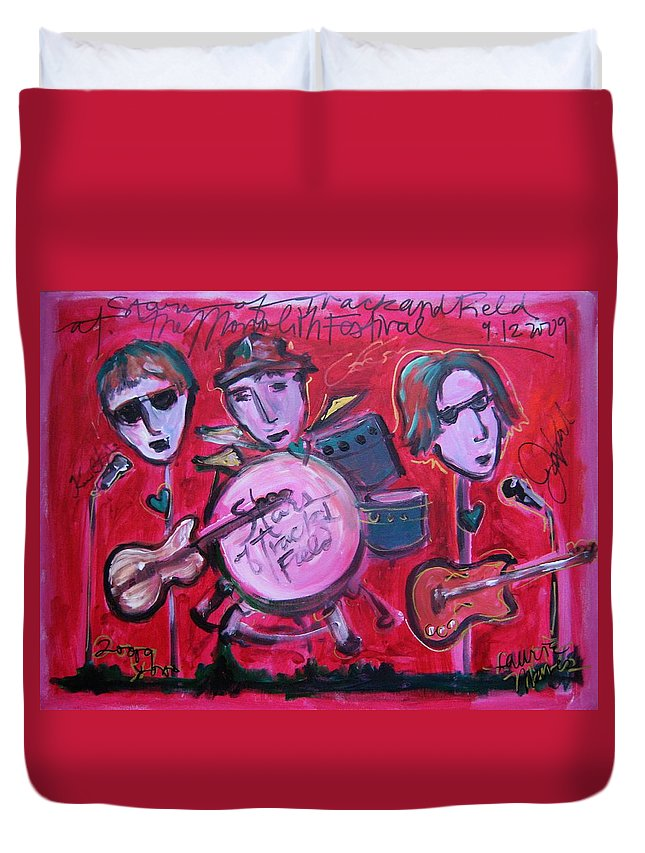 Red Duvet Cover featuring the painting Stars Of Track And Field At Monolith by Laurie Maves ART