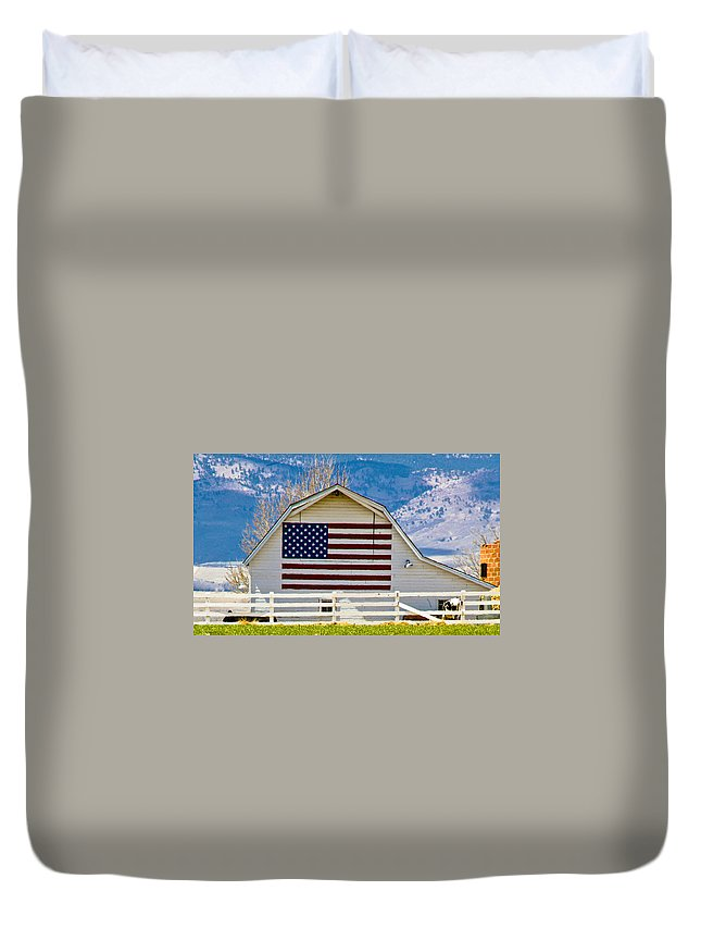 Barn Duvet Cover featuring the photograph Stars Stripes And Barns by Marilyn Hunt